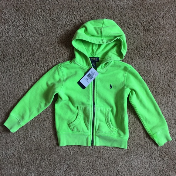 Ralph Boys Green 3t Nwt Neon Hoodie Polo Lauren yvYf76gb